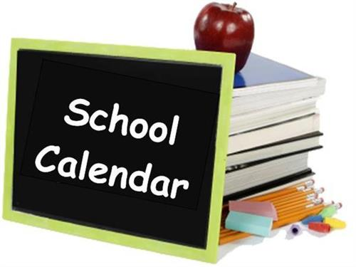 school calendar sign with stack of books with apple on top