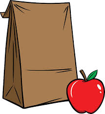 brown paper bag with red apple