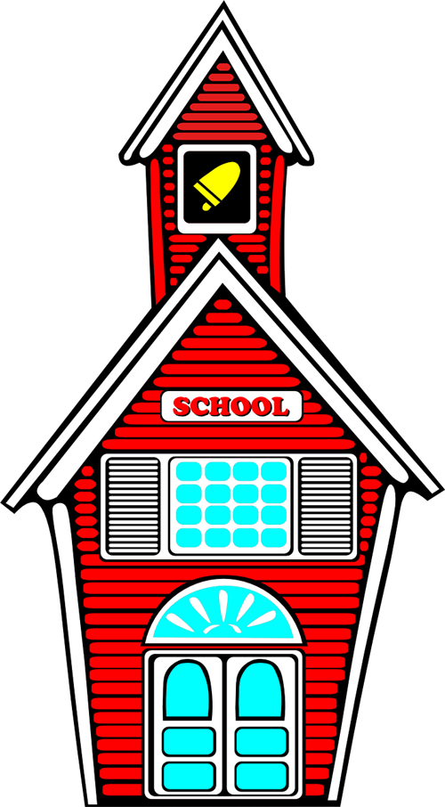 red school building cartoon